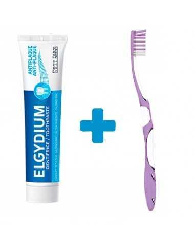 Елгидиум Програма анти плака паста за зъби 75 мл. и четка за зъби анти плака медиум